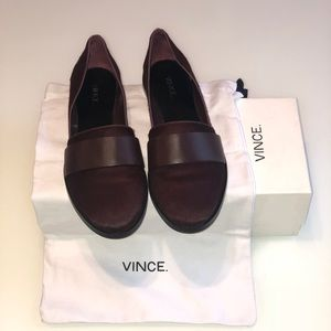 Vince Mason Calf-Hair & Leather Flat in Fig 7.5